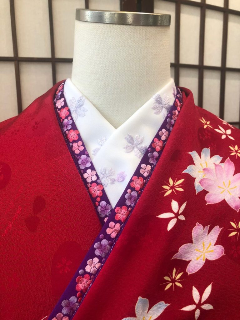 白刺繍半衿 重ね衿 コーディネート