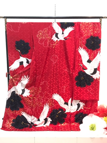 カワイイ 赤振袖 鶴